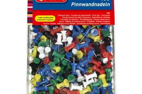 Herlitz 8859142 Pinnwandnadel bzw Organisationsnadel 23mm farbig sortiert in der 500x330 - Herlitz 8859142 Pinnwandnadel bzw. Organisationsnadel, 23mm, farbig sortiert, in der 400er Transparentbox