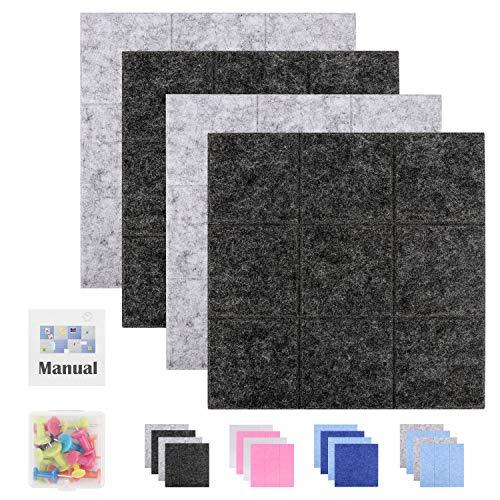 SEG Direct 30 cm x 30 cm Große Quadratische Filz-Pinnwand | Memotafeln, Schwarzes Brett und Notizbrett für das Büro | Dekorative Pinnwand für Kinder 4er-Set mit Druckstiften | 2 Grau und 2 Schwarz