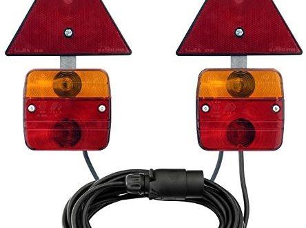 AdLuminis Rückleuchten-Set verkabelt mit Magnetfuß und Rückstrahler, für Anhänger, 7m Kabel, 7-poliger Stecker, Anhängerbeleuchtung für Straßenverkehr zugelassen