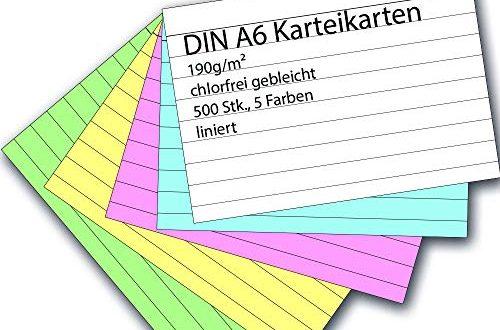 Karteikarten 500 Stueck A6 farbig liniert 500x330 - Karteikarten 500 Stück A6 farbig liniert