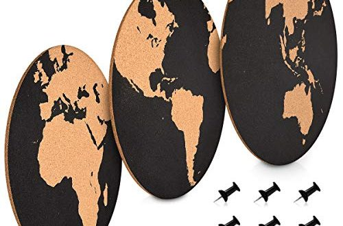 Navaris 3x Kork Pinnwand Korkwand Set Weltkarte rund Pinboard 500x330 - Navaris 3x Kork Pinnwand Korkwand Set - Weltkarte rund Pinboard Korkplatte Tafel - Pinwand 3 World Map Designs - Korktafel Memo Wand inkl. 6 Pins