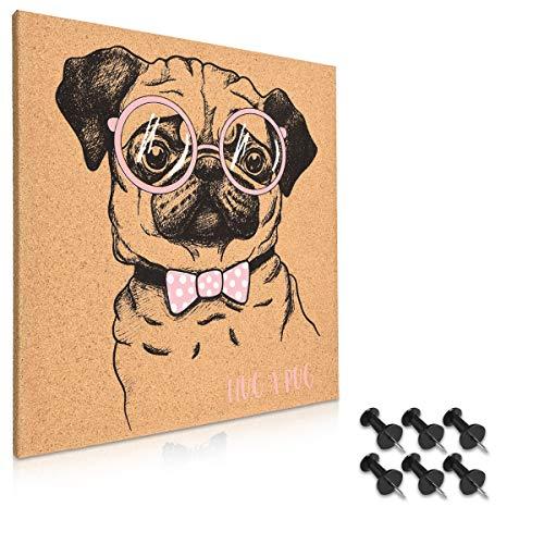 Navaris Kork Pinnwand Korkwand 40x40cm - Pinboard Korkplatte Tafel - Pinwand im Mops Design - Korktafel Memo Wand inkl. 6 Pins