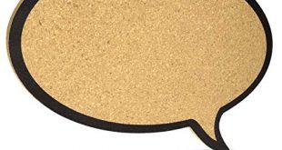 Navaris Kork Pinnwand Korkwand 44x29cm Pinboard Korkplatte Tafel 310x165 - Navaris Kork Pinnwand Korkwand 44x29cm - Pinboard Korkplatte Tafel - Pinwand im Sprechblase Design - Korktafel Memo Wand inkl. 5 Pins