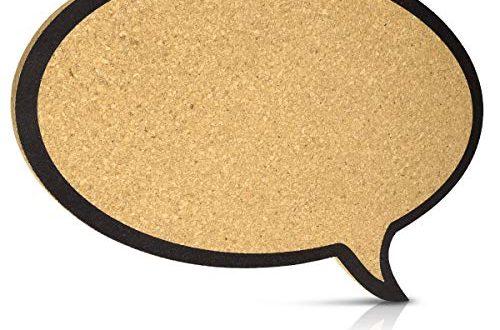 Navaris Kork Pinnwand Korkwand 44x29cm Pinboard Korkplatte Tafel 500x330 - Navaris Kork Pinnwand Korkwand 44x29cm - Pinboard Korkplatte Tafel - Pinwand im Sprechblase Design - Korktafel Memo Wand inkl. 5 Pins