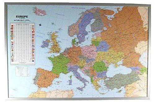 Politische Europakarte auf Kork Pinnwand englisch 90x60cm Europakarte zum Pinnen Massstab 500x330 - Politische Europakarte auf Kork-Pinnwand, englisch, 90x60cm: Europakarte zum Pinnen, Maßstab 1:7.000.000 Mio., mit 12 Pinnfähnchen mit silberfarbenen Holzrahmen