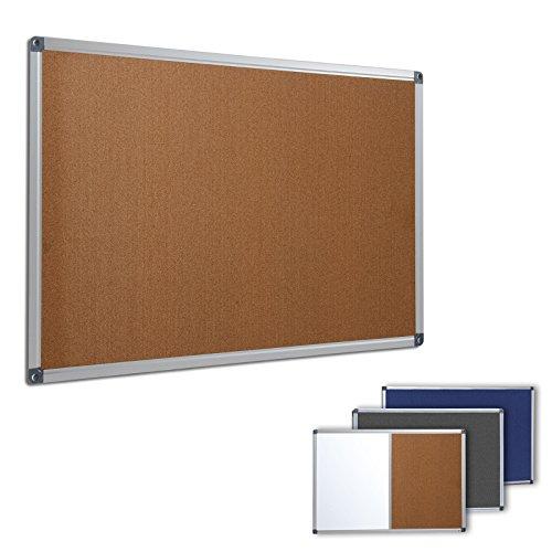 Profi Pinnwand für Büro, Schule, Küche etc. | Memoboard in vielen Größen | moderner Aluminiumrahmen | Oberfläche wählbar | Kork 90x60 cm