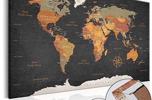 decomonkey Weltkarte Pinnwand 120x80 cm Leinwand | Bilder Leinwandbilder - Fertig aufgespannt auf Dicker 10mm Holzfasertafel! Aufhängfertig! Auch als Korktafel nutzbar! XXL Format - PWC0034b1XL